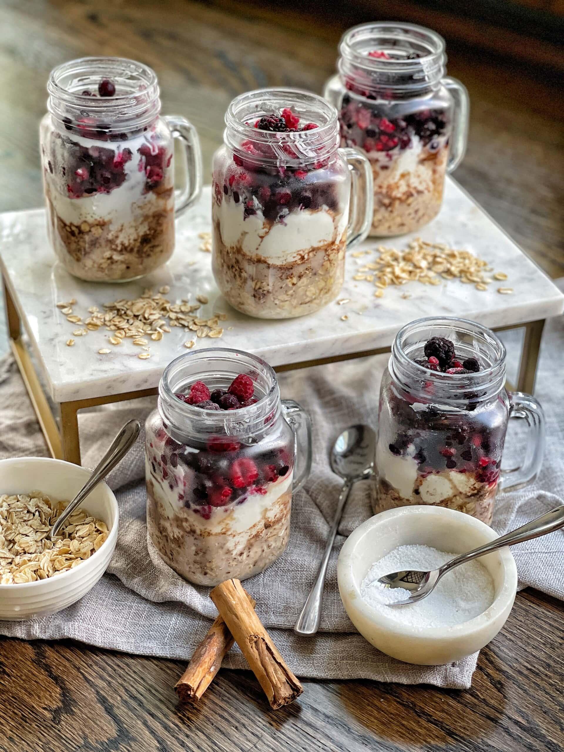 overnight oat and yogurt jars