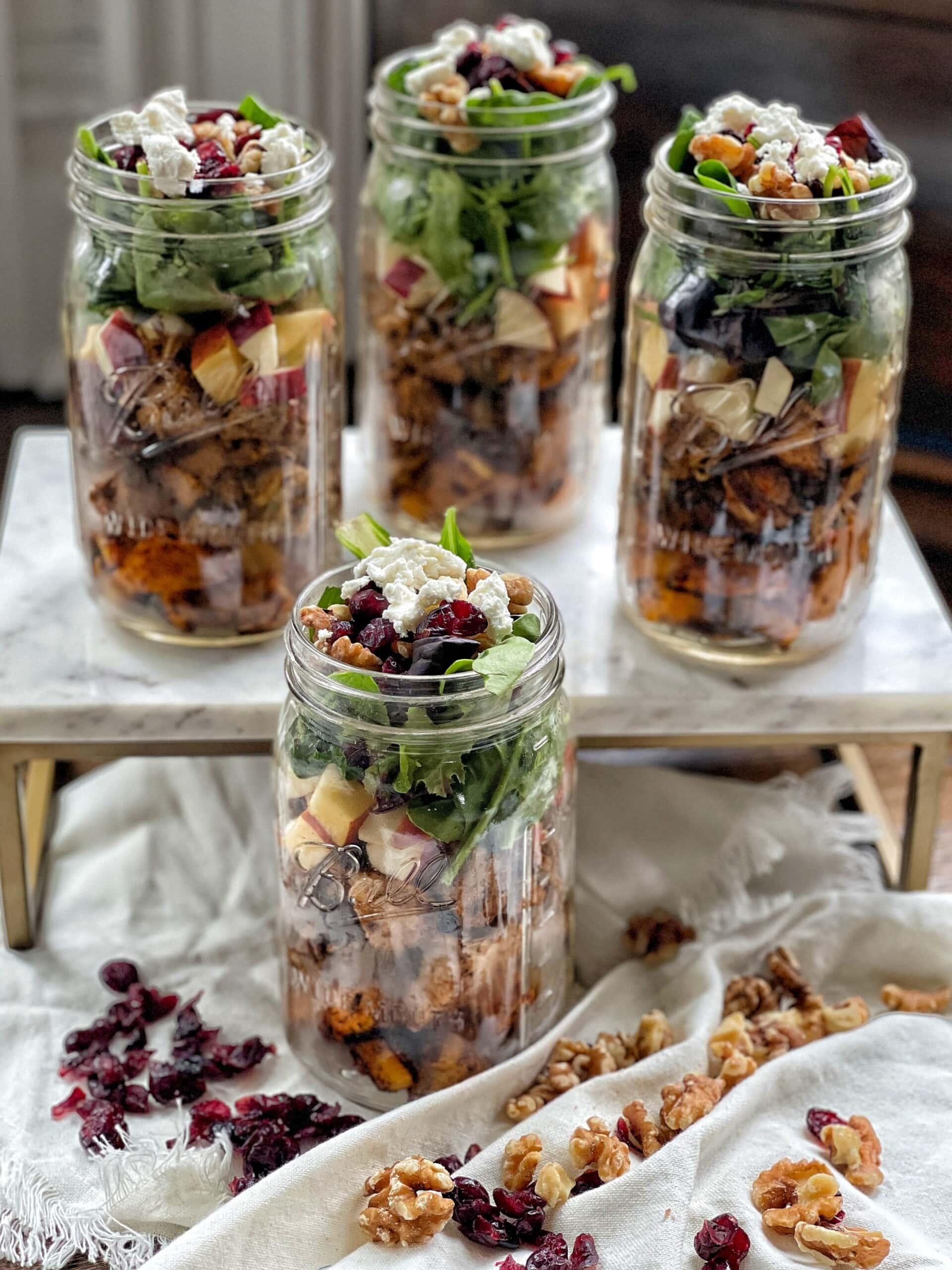 autumn harvest mason jar salads