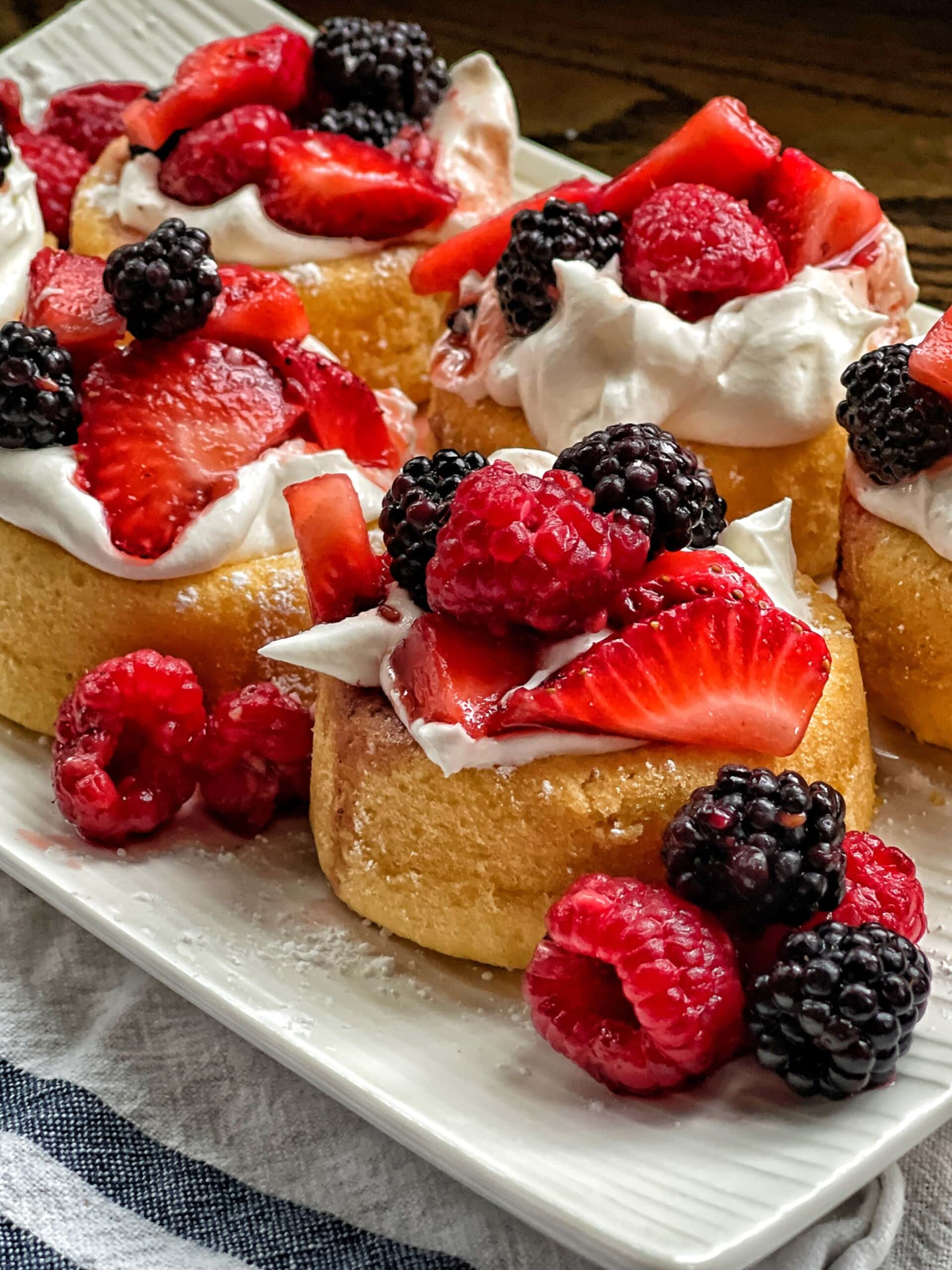 dessert shells with mixed berries