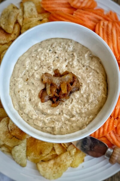 roasted garlic and caramelized onion dip