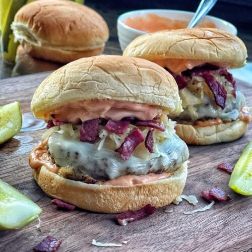 lighter reuben style cheeseburgers
