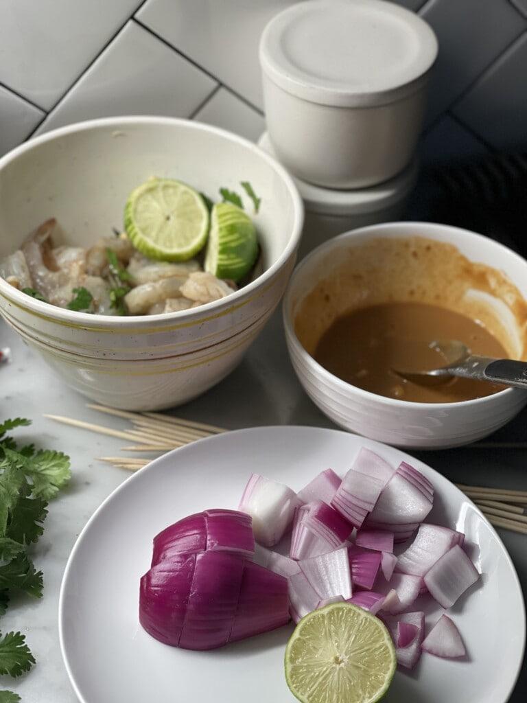 shrimp satay skewers with peanut sauce