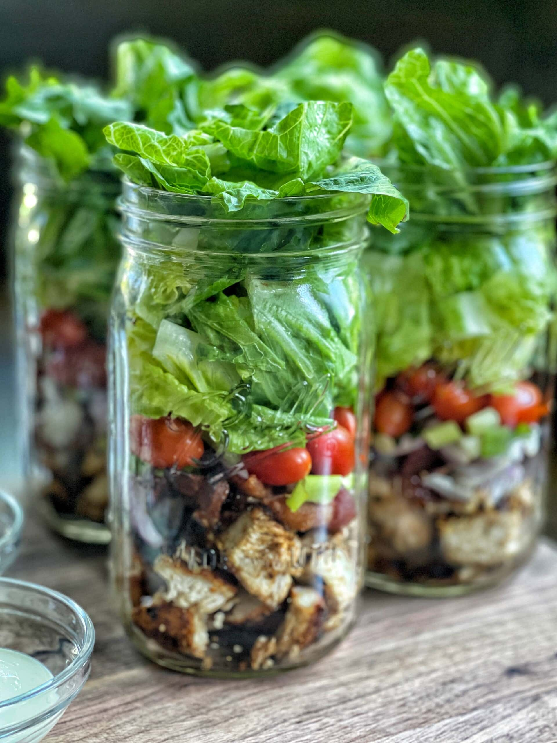 chicken club mason jar salads