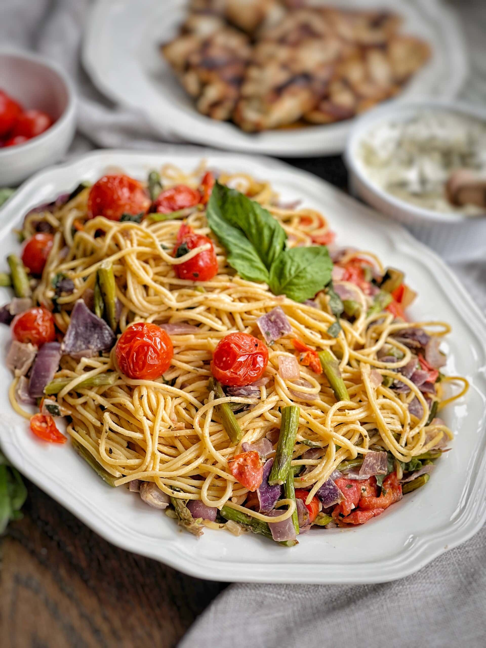 spaghetti with roasted vegetables