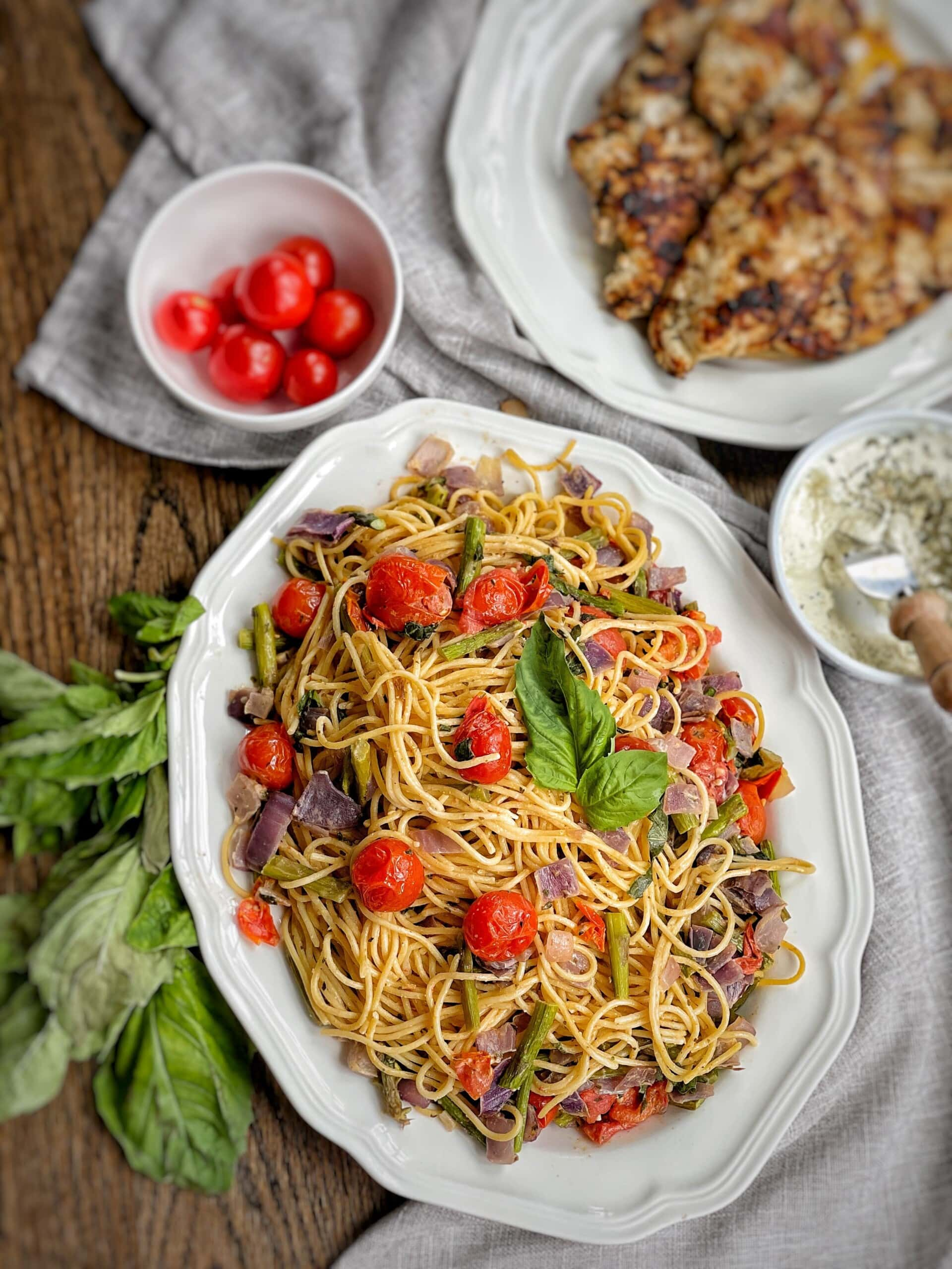 creamy spaghetti with roasted spring vegetables