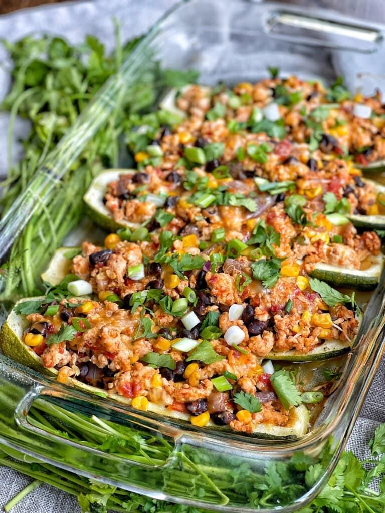turkey taco stuffed zucchini boats