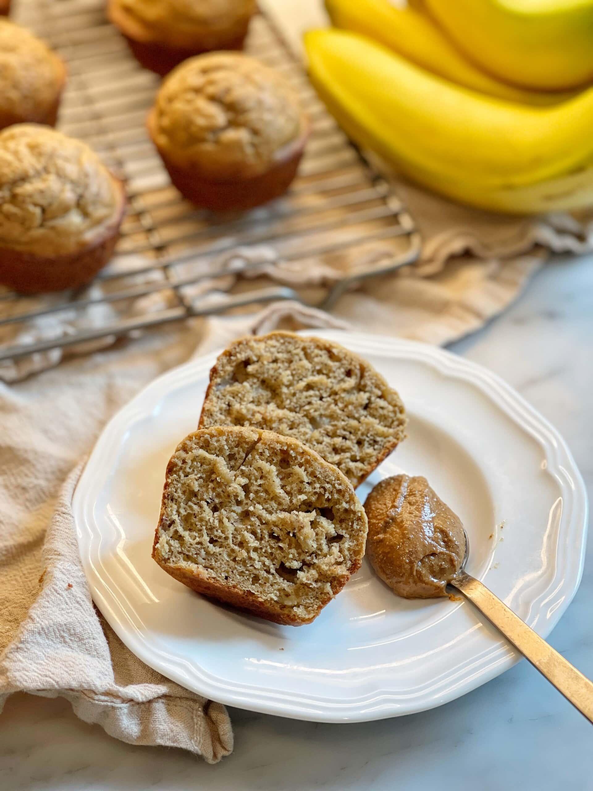 banana almond butter muffins