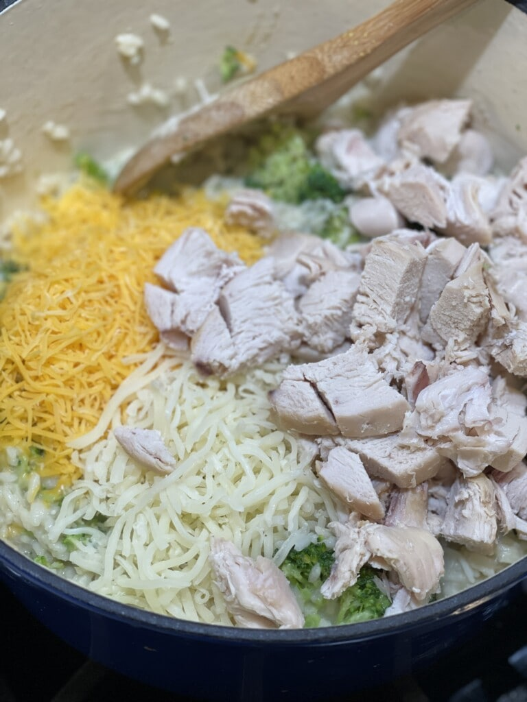 one pot lighter cheesy chicken broccoli and rice