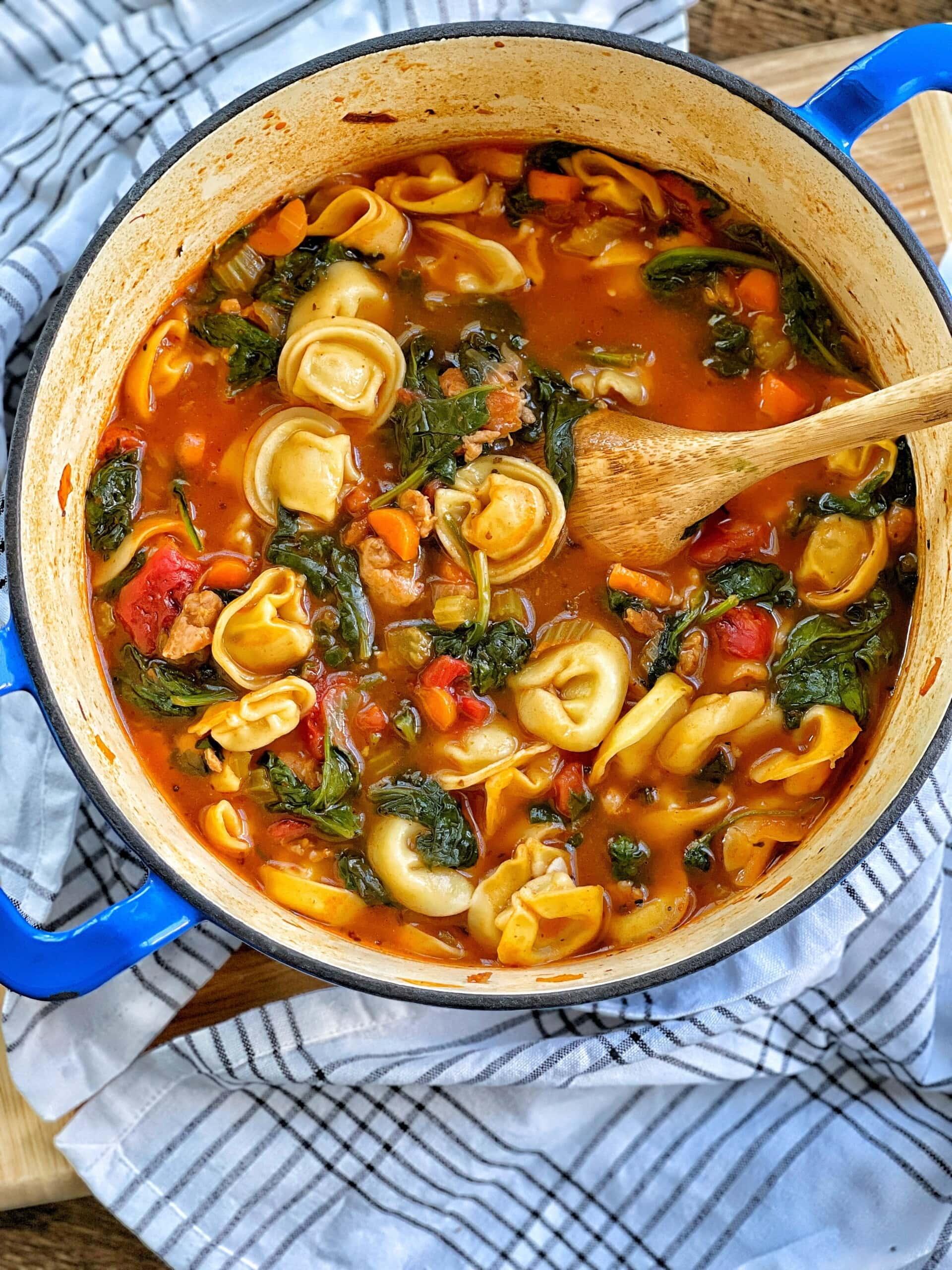 tortellini soup with chicken sausage and spinach